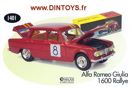 REPLIQUE  BOITE ALFA ROMEO GIULIA  DINKY TOYS 1967