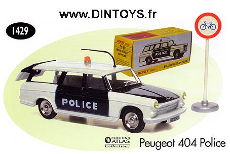 DINKY TOYS ATLAS repro ref 1429 Peugeot 404 police certif 1 fiche